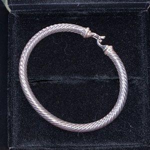 David Yurman Sterling diamond hook cable bracelet